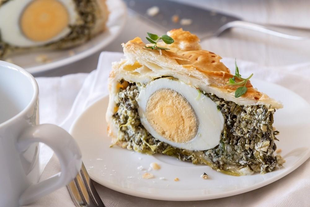 Zelený vaječný koláč z lístkového cesta 6